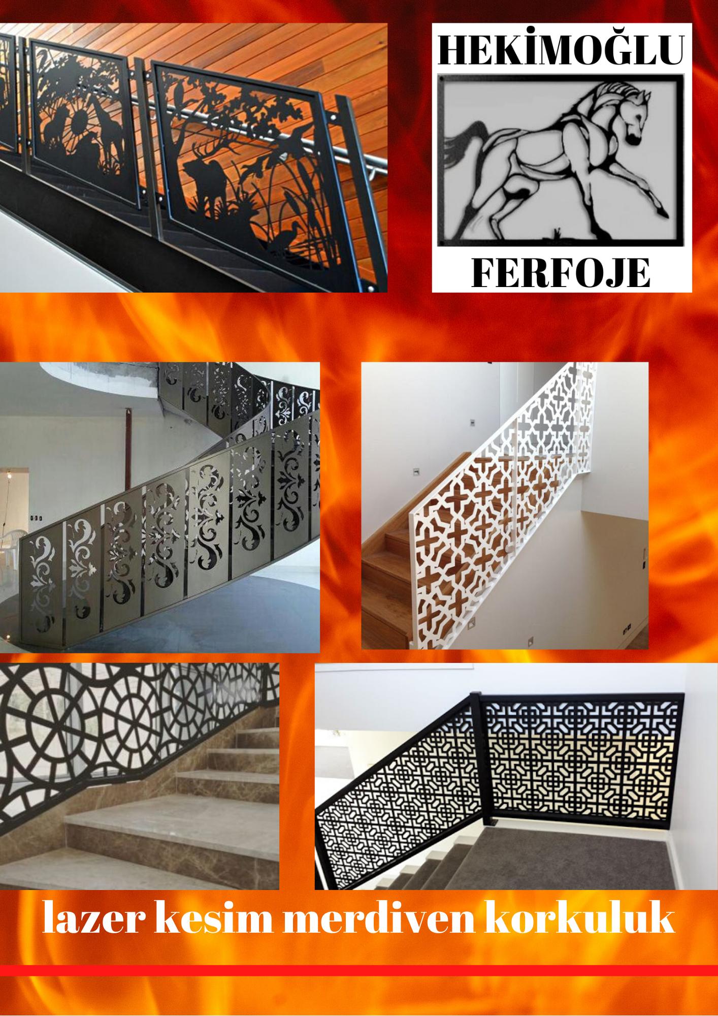 Lazer kesim merdiven korkuluk modelleri İzmir